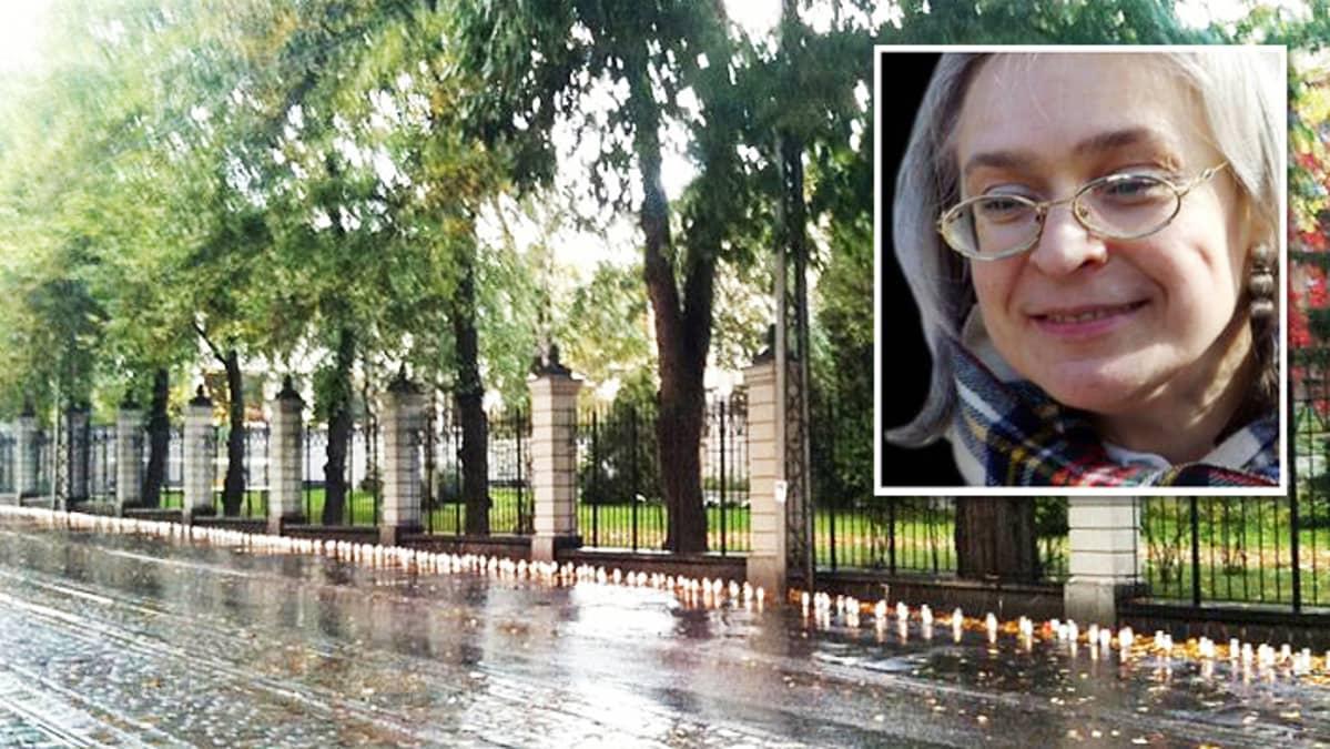 Kynttilärivistö maassa Venäjän suurlähetystön aidan edessä sekä Anna Politkovskajan kasvokuva.