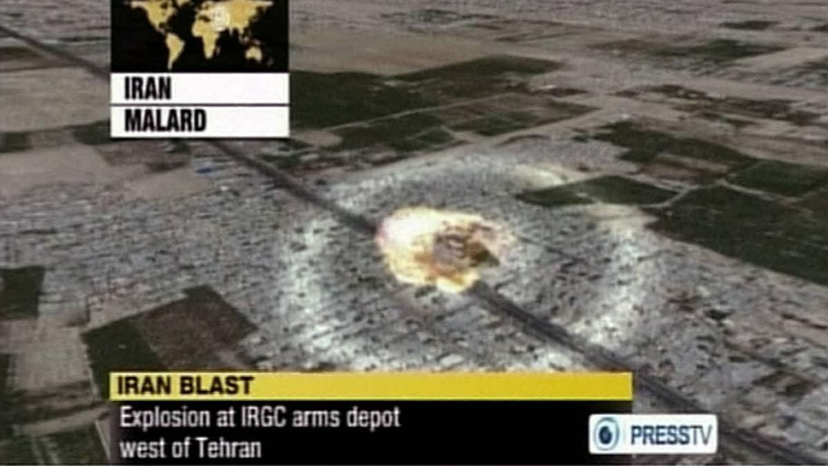 Animaatio jossa näkyy räjähdys ilmasta katsottuna