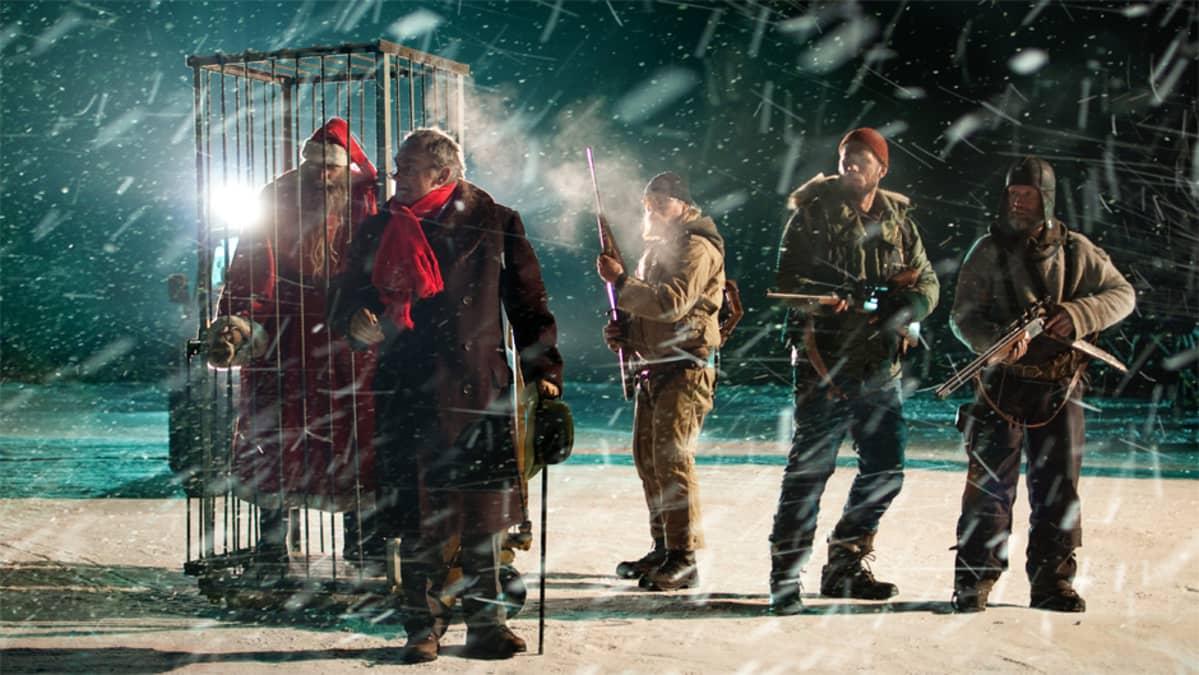 Joulupukki, Per Christian Ellefsen, Rauno Juvonen, Tommi Korpela ja Jorma Tommila elokuvassa Rare Exports.