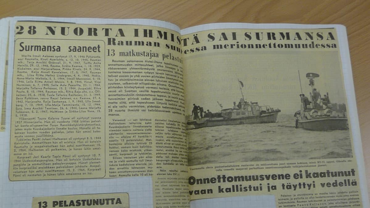 Lehtileike Kuuskajaskarin onnettomuudesta vuodelta 1964.