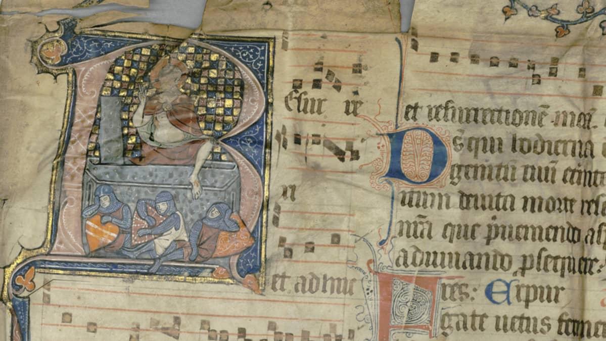 Yksityiskohta 1300-luvun messukirjan pergamenttisivusta. Kristus nousee kuolleista roomalaissotilaiden torkkuessa.