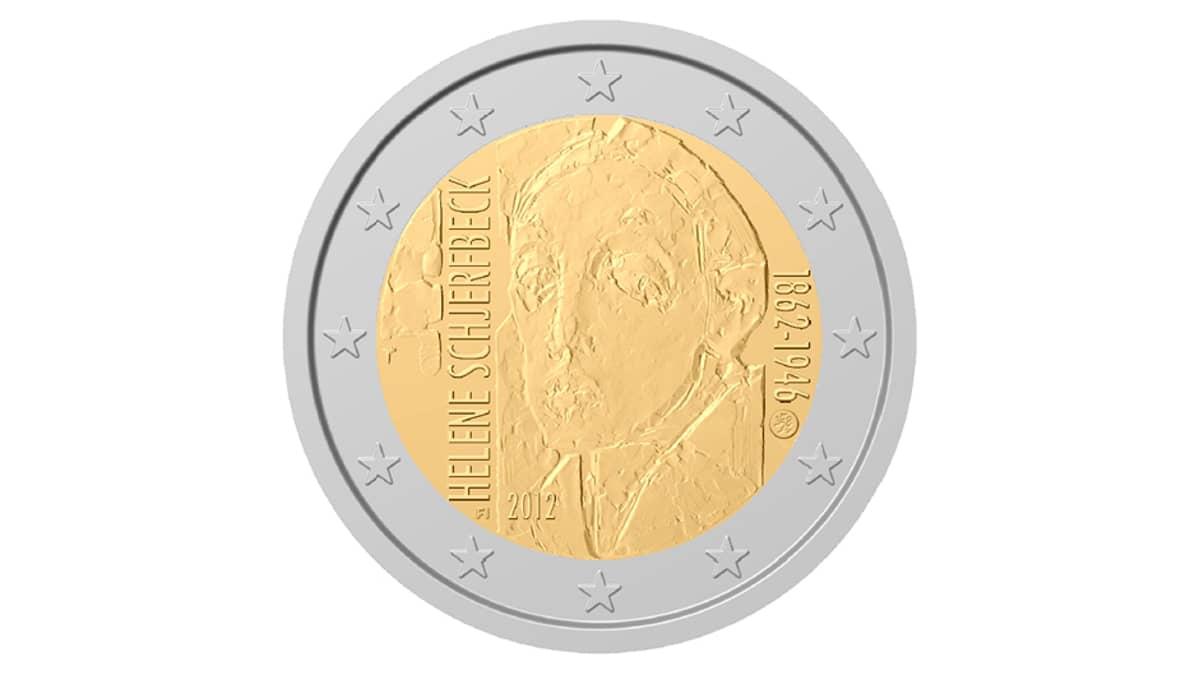 Helene Schjerfbeckin syntymän 150-vuotisjuhlaa juhlistava kahden euron juhlaraha.