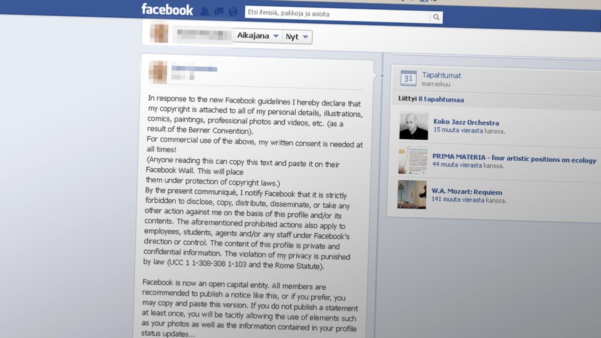 Kuvakaappaus Facebook-sivusta.