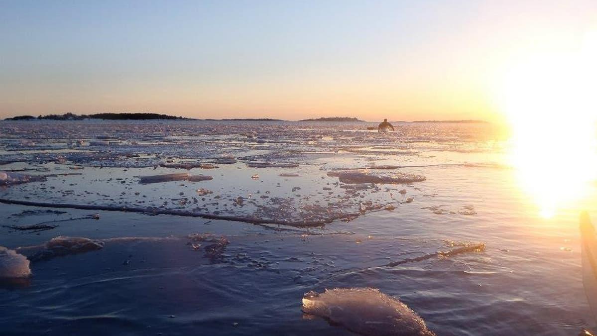 Talvimelontaa Hangon vesillä huhtikuussa 2013.