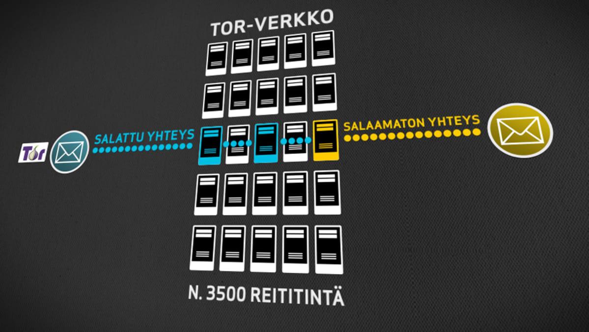 Tor-verkko salaa käyttäjänsä tunnistetiedot. Viestien alkuperää on vaikea seurata, koska tiedoston reitti arvotaan aina kolmen eri Tor-verkkoa pyörittävän koneen välillä.