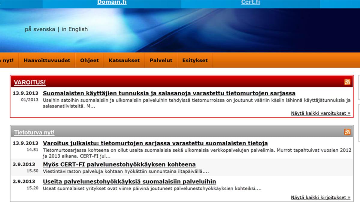 Kuvakaappus cert.fi-sivuston tietomurtovaroituksesta.