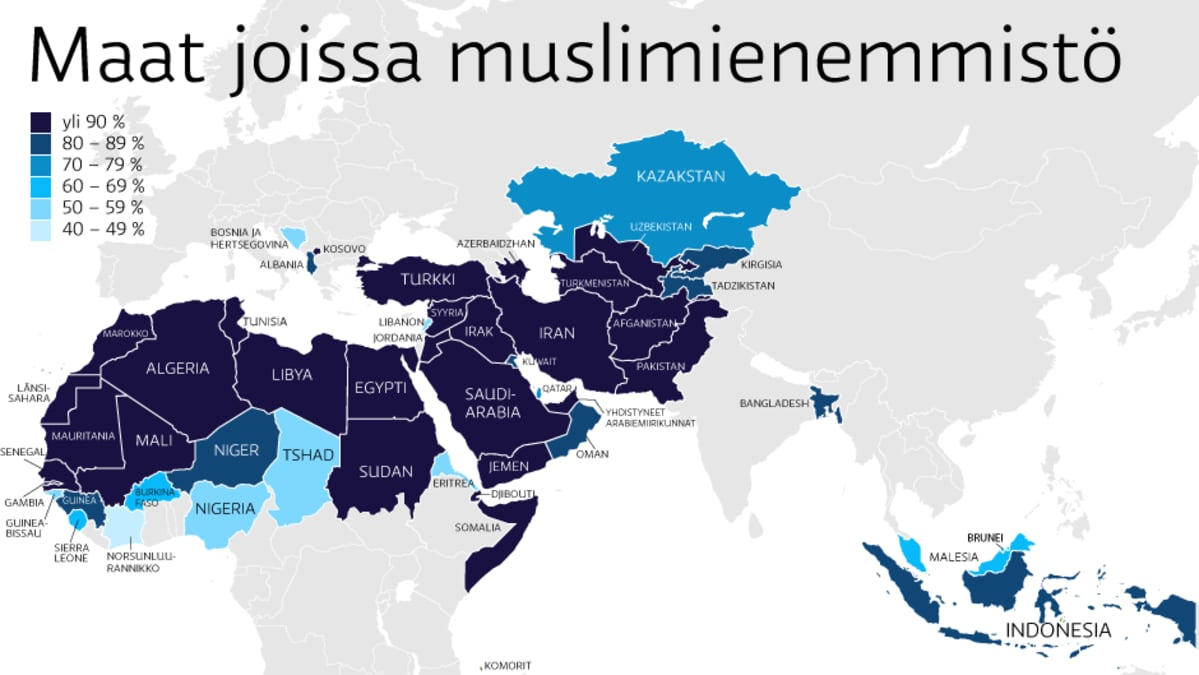 Islamin Suuntaukset Kartalla Muslimeja Hiertaa Kaikkien Aikojen
