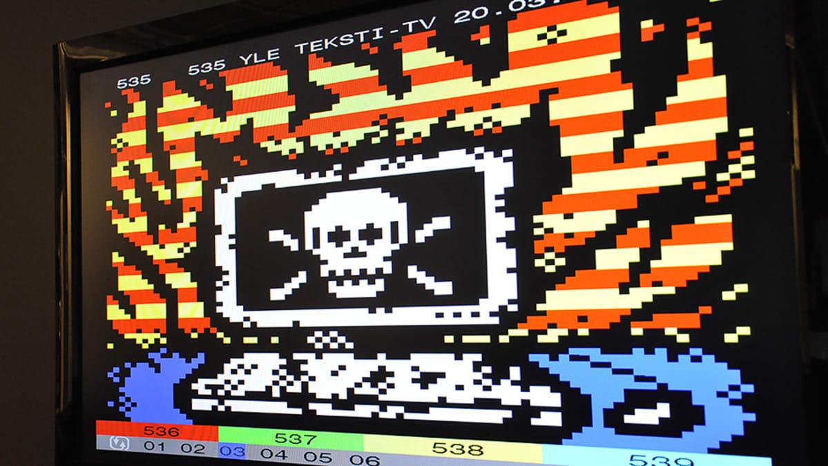 Teksti-tv-taidetta televisioruudulla.
