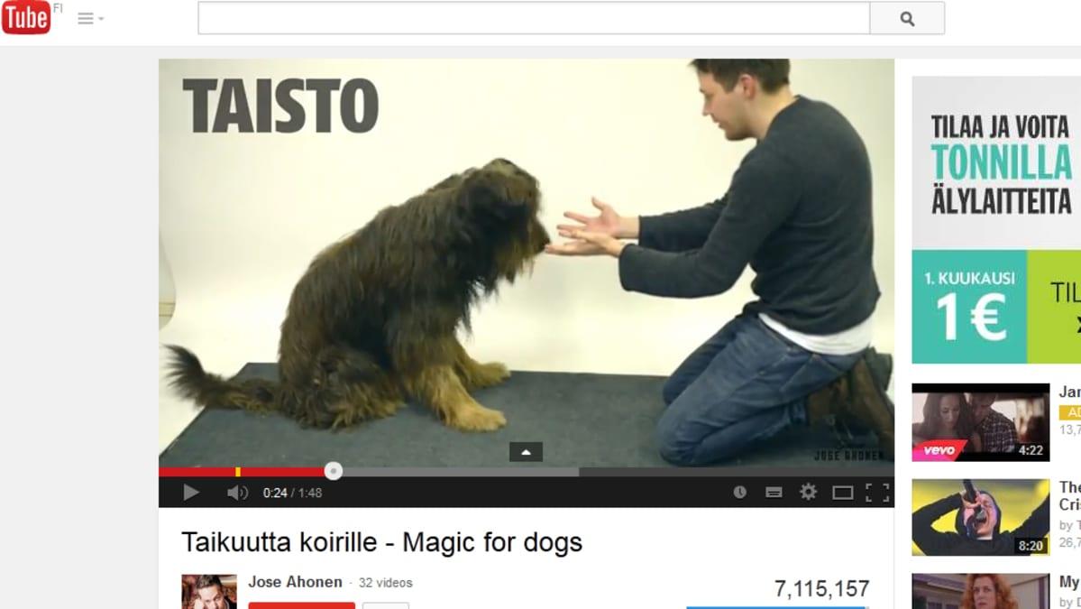 Kuvakaappaus Taikuutta koirille - Magic for dogs -videosta Youtubessa.