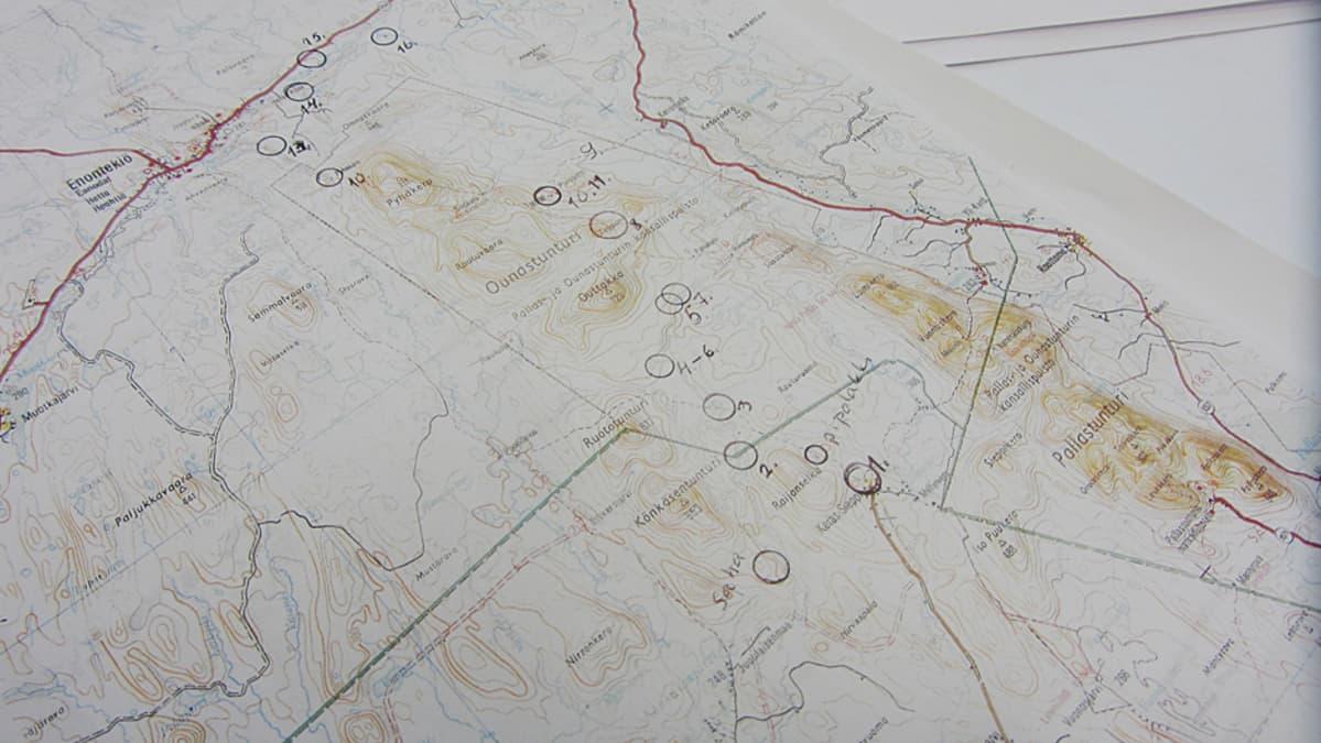 Kartta vuoden 1963 etsintäalueesta.