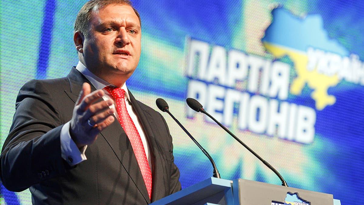 Myhailo Dobkin puhuu kannattajilleen puoluetapahtumassa.