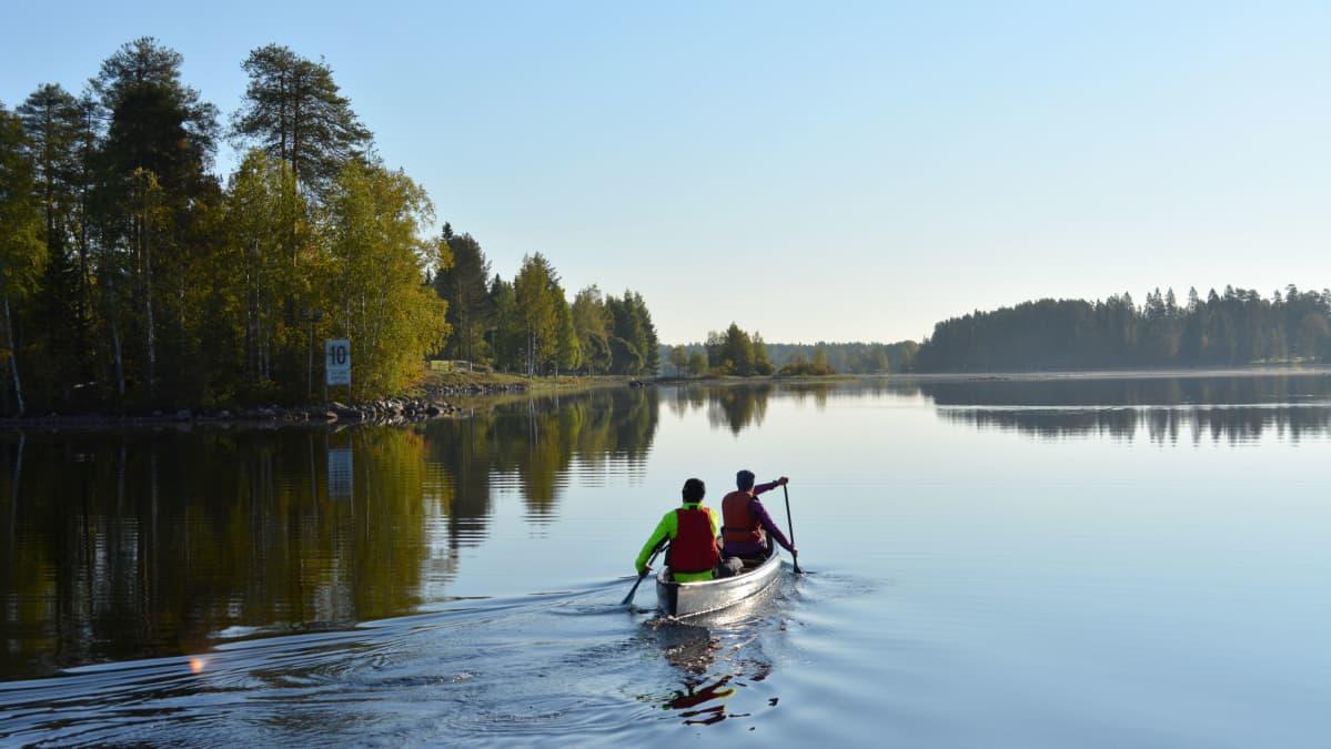 Kaksi ihmistä meloo kanootilla Kajaaninjoella.