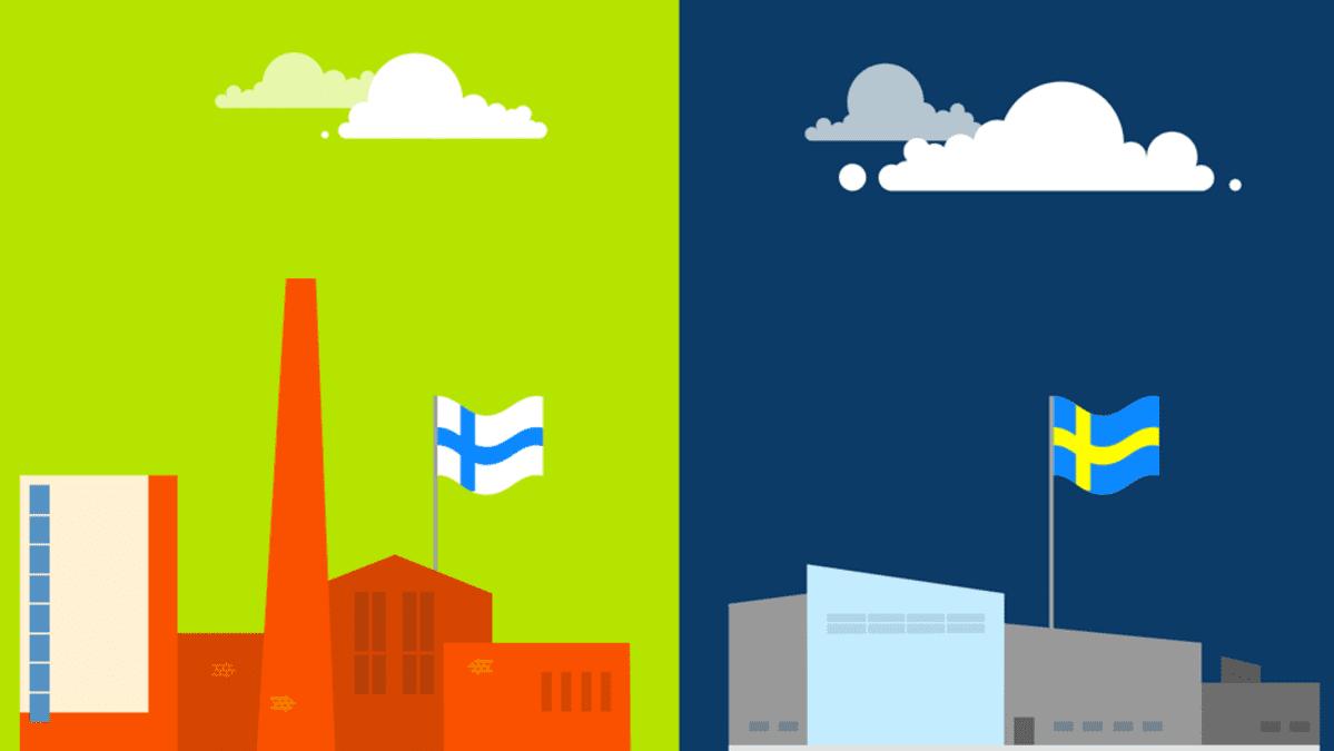 Grafiikka jossa kaksi tehdasta ja Suomen ja Ruotsin liput.