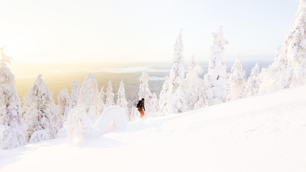 Lapin mäet sopivat hyvin lumisurffaukseen. Kuva on otettu helmikuussa Luostolla.