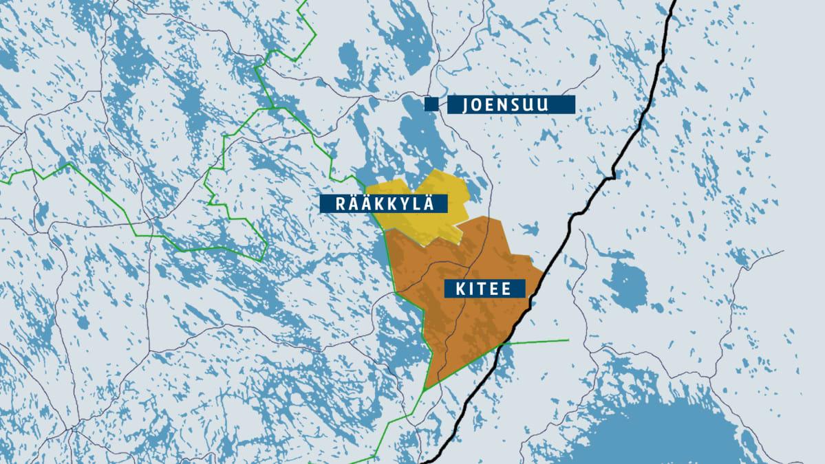 Kartta, jossa Kitee jä Rääkkylä.