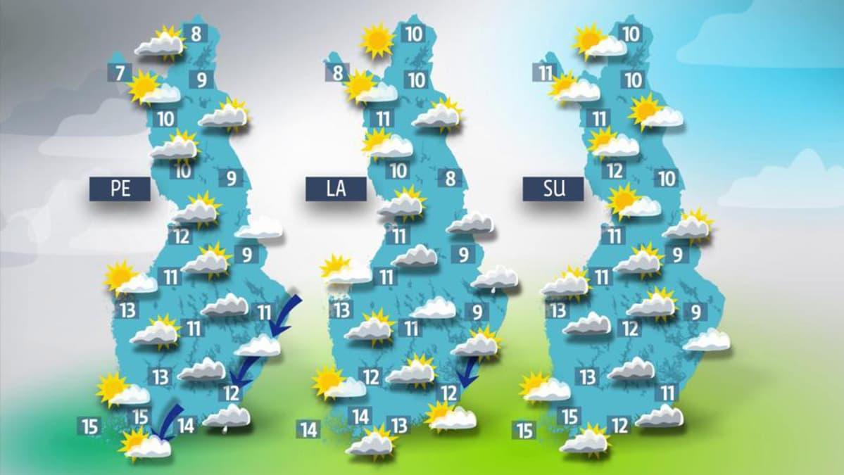Sääennuste viikonlopulle 16.-18.syyskuuta 2016.