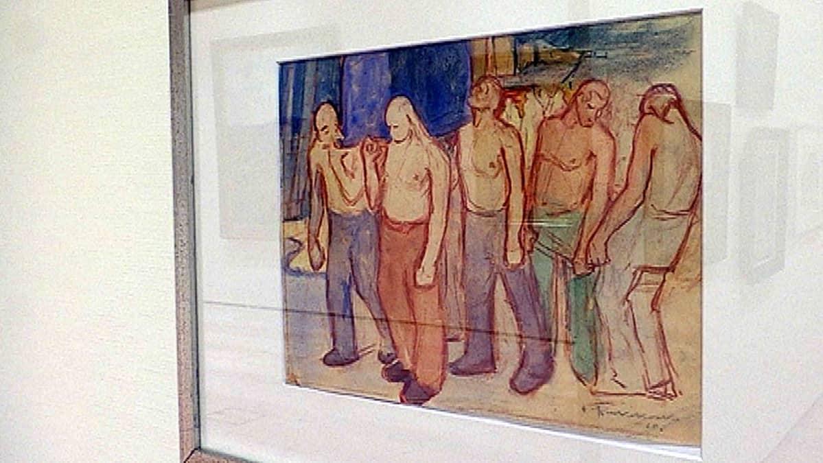 Jalmari Ruokokosken Työmiehiä maalauksen luonnos