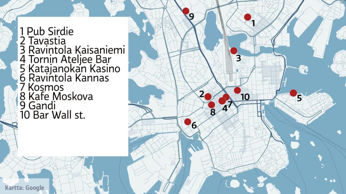 Nämä edelleen olemassa olevat ravintolat ovat olleet Aki Kaurismäen kuvauspaikkoja.