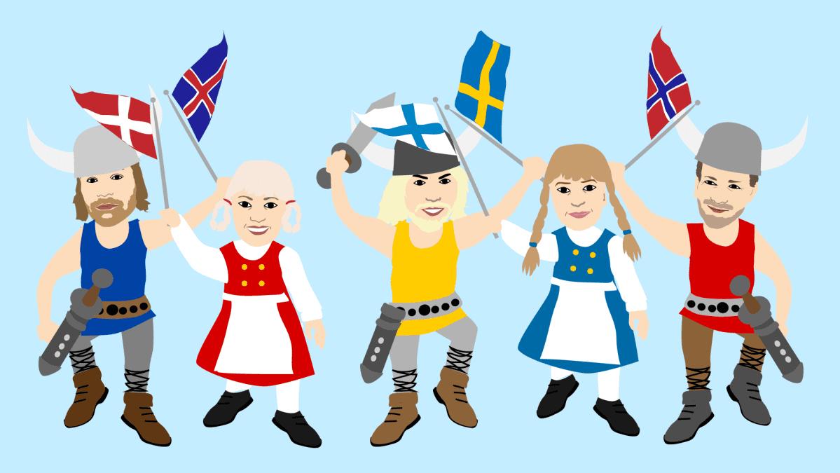 Onnelliset pohjoismaalaiset -piirros