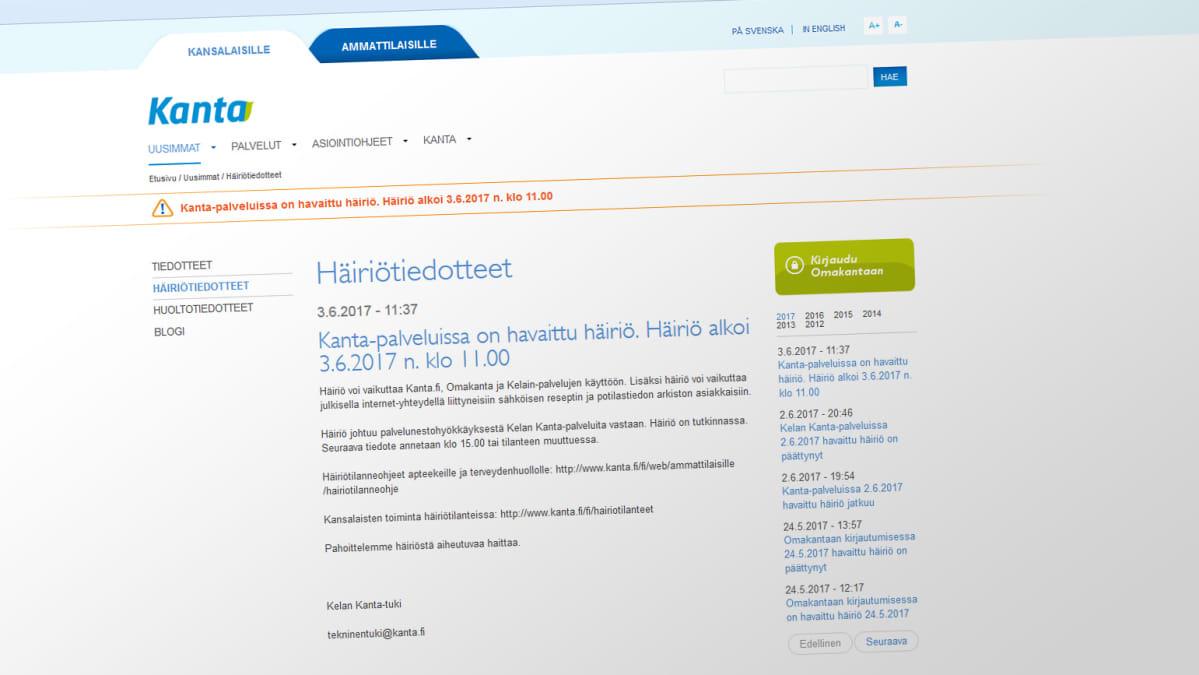 Kuvakaappaus kanta.fi-sivuston häiriötiedotteesta.
