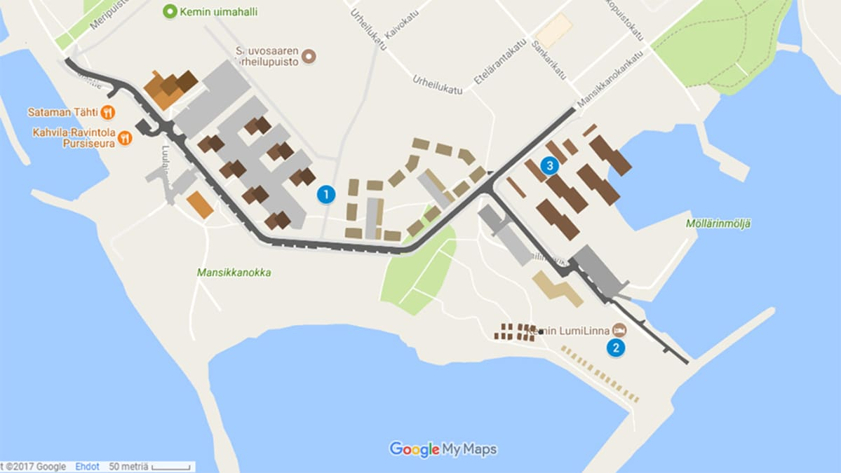 Kuvankaappaus Googlen karttapohjasta.