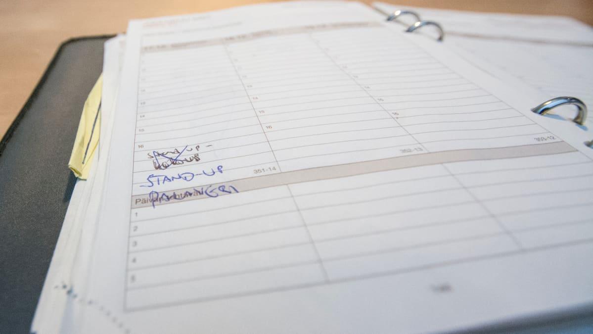 Kalenterimerkintä Juha Jylhäsalmen kalenterissa joulukuussa 2007.
