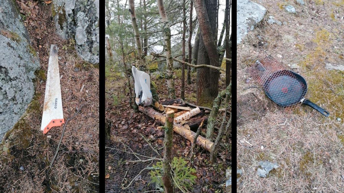 Luontoon jätettyjä roskia.