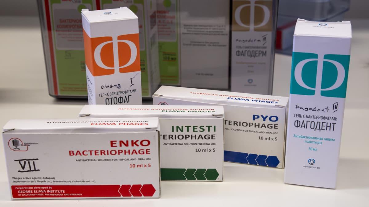 Venäjällä myytäviä bakteriofagilääkkeitä.