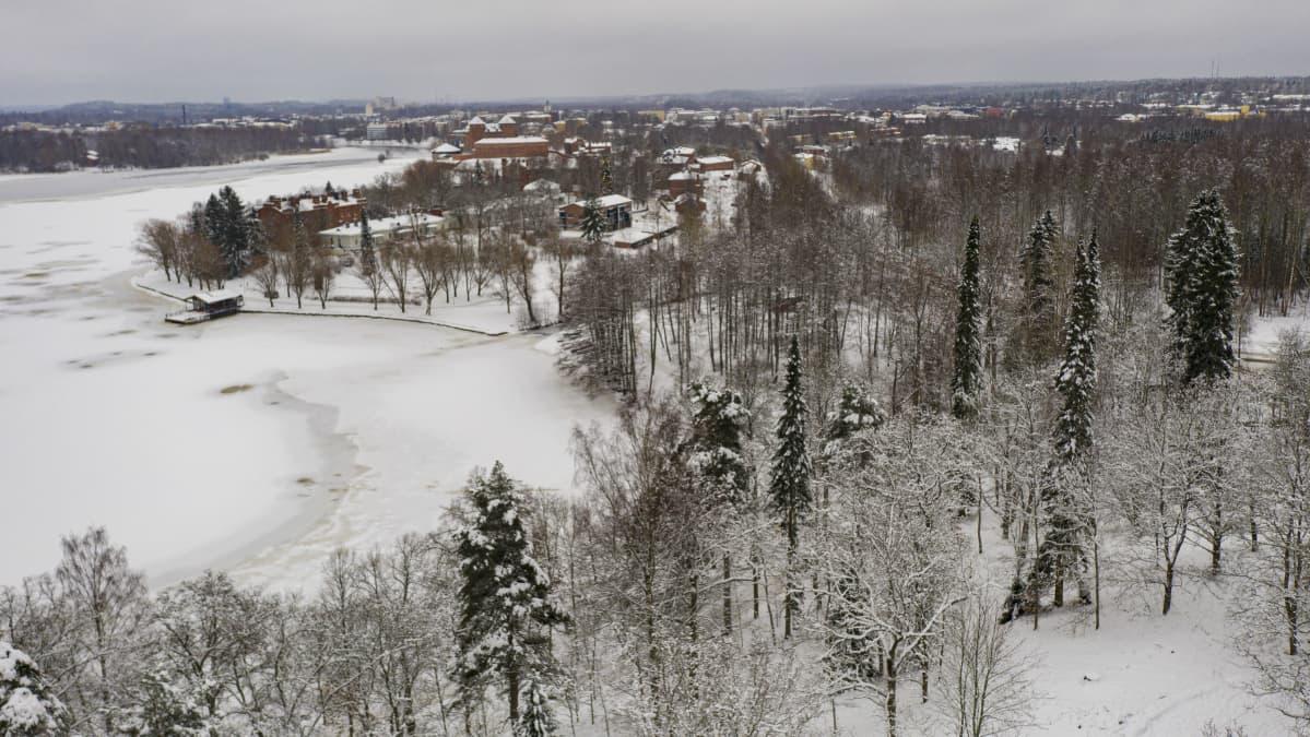 Näkymä Hämeenlinnan keskustaan puistomäeltä.