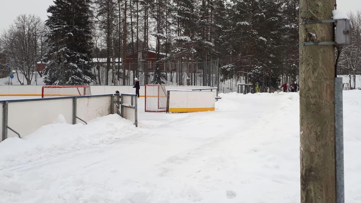 Jääkiekkokaukalo, jossa yksi luistelija