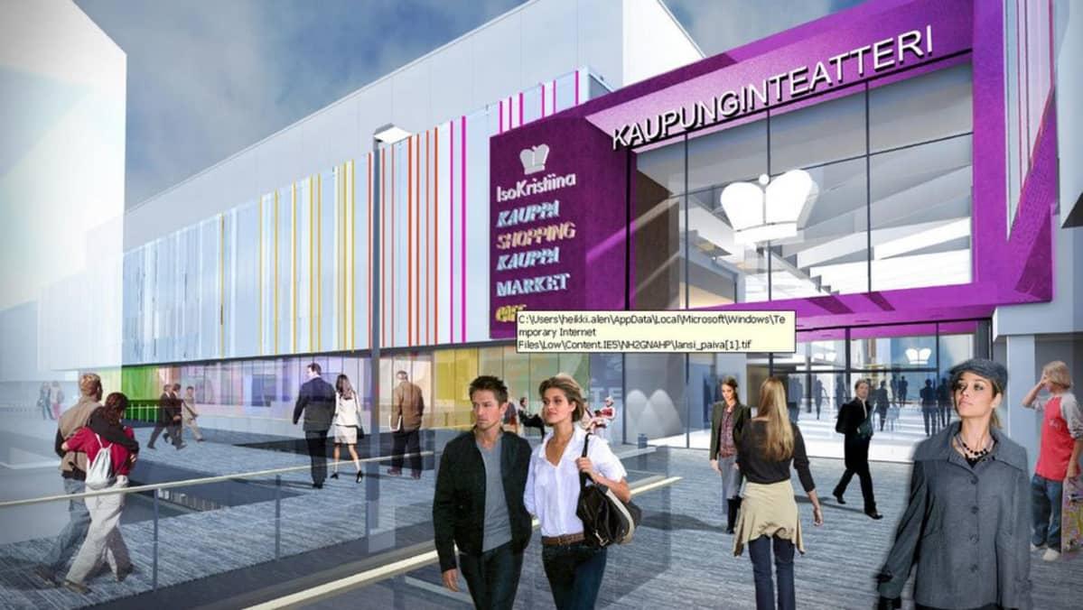 Cityconin hahmotelma siitä, miltä kauppakeskus Iso-Kristiinan laajennukseen sijoitettu kaupunginteatterin laajennus voisi näyttää.