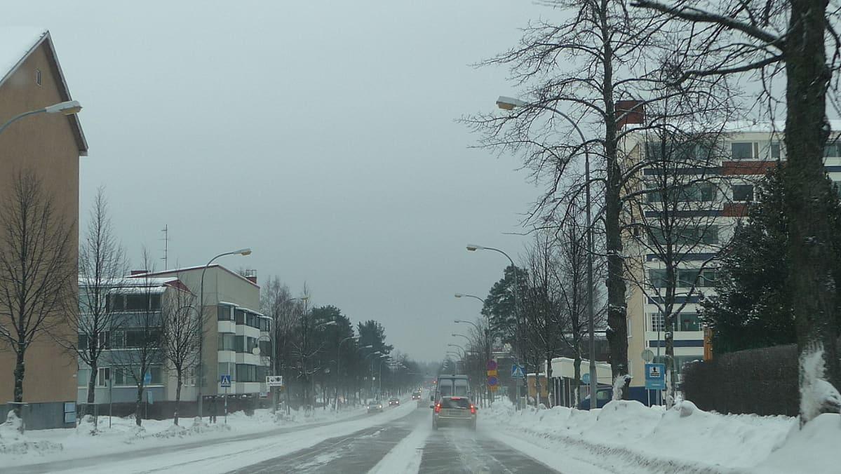 Pieksämäen keskustaa talvella.