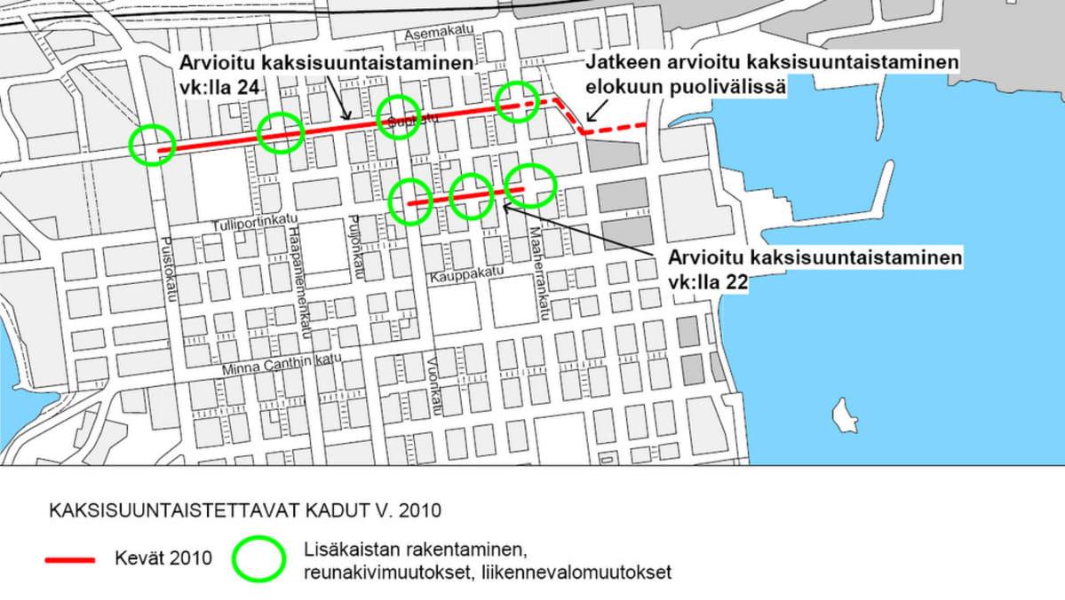 Kuopion Keskustan Katujen Kaksisuuntaistaminen Jatkuu Yle
