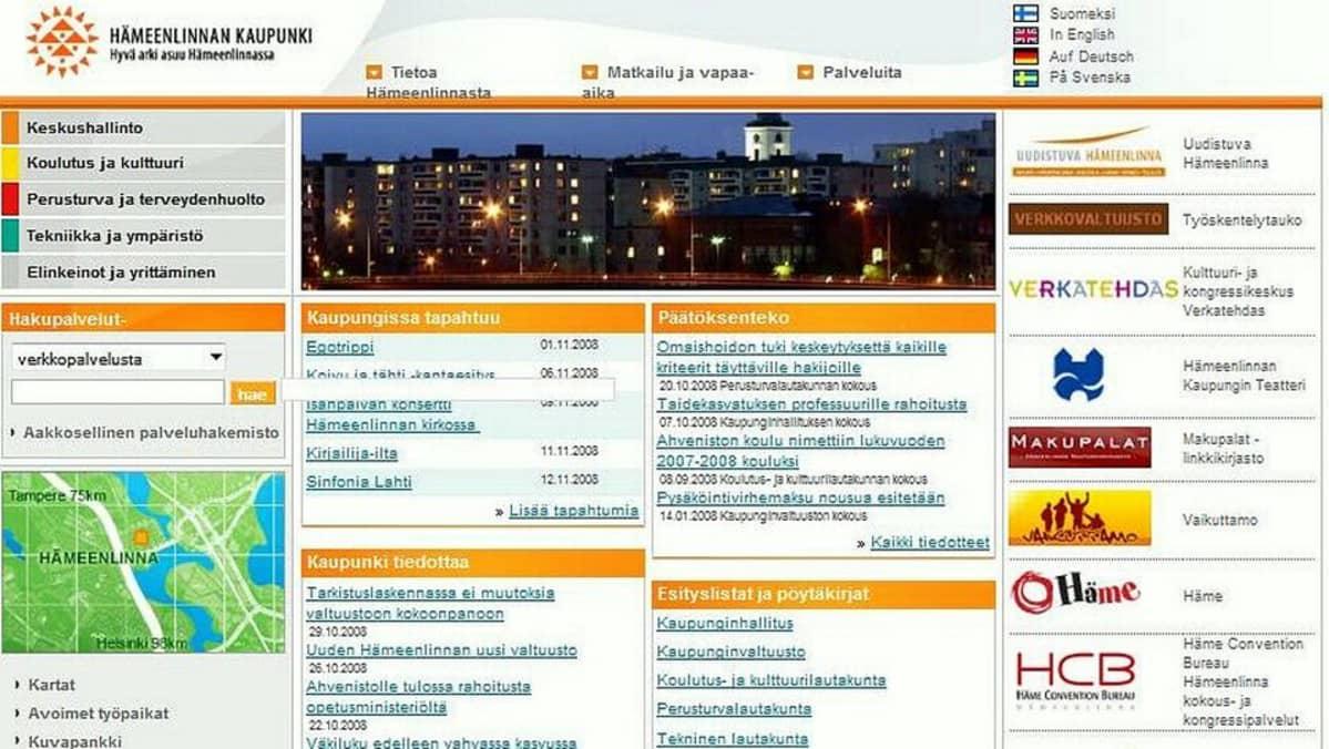 Hämeenlinnan kaupungin nettisivu vuodelta 2008