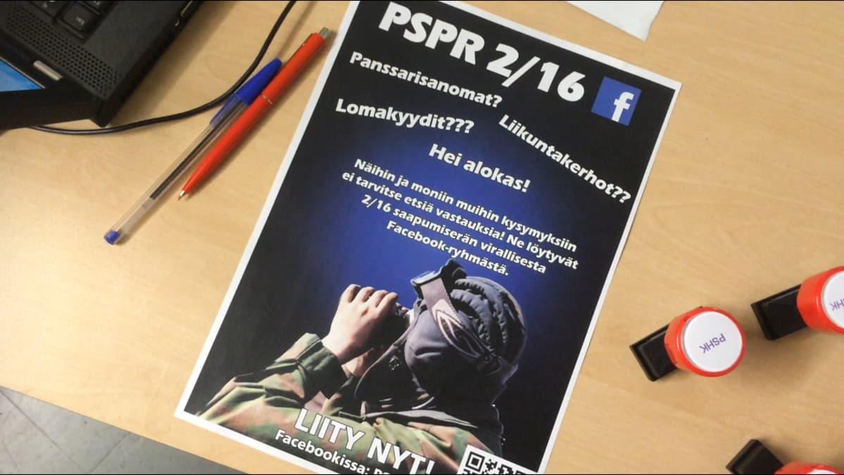 PSPR-ryhmän juliste Parolan panssariprikaatissa