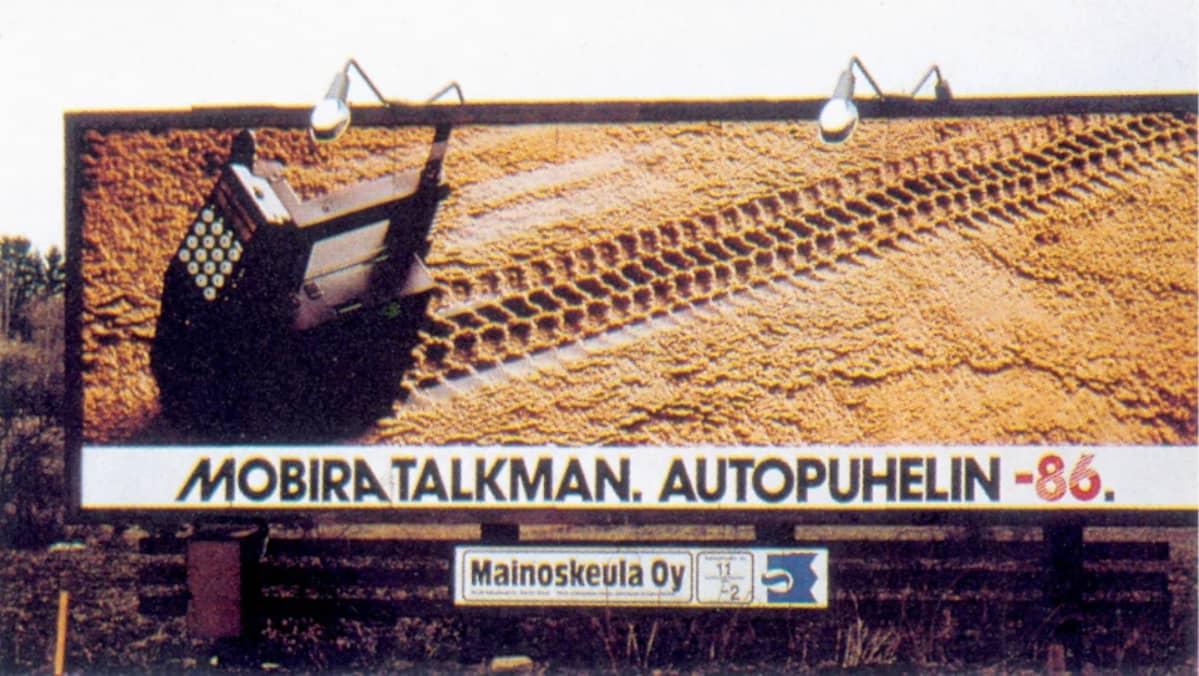 Mobira Talkman -mainos vuodelta 1986.
