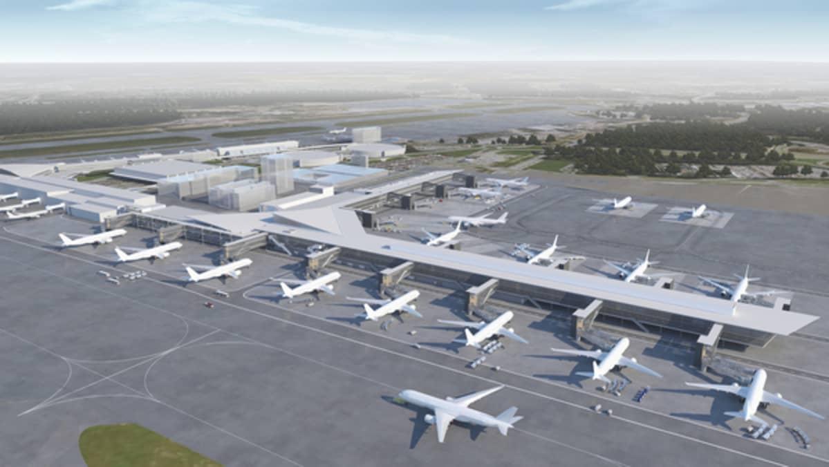 Havainnekuva Helsinki-Vantaan lentokentästä laajennusten jälkeen