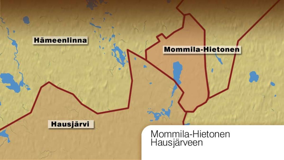 Kartta Mommila-Hietonen, Hämeenlinna, Hausjärvi
