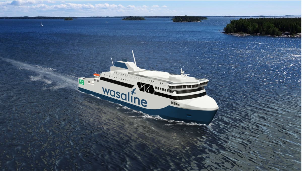 Havainnekuva Vaasan ja Uumajan väliselle reitille tulevasta laivasta