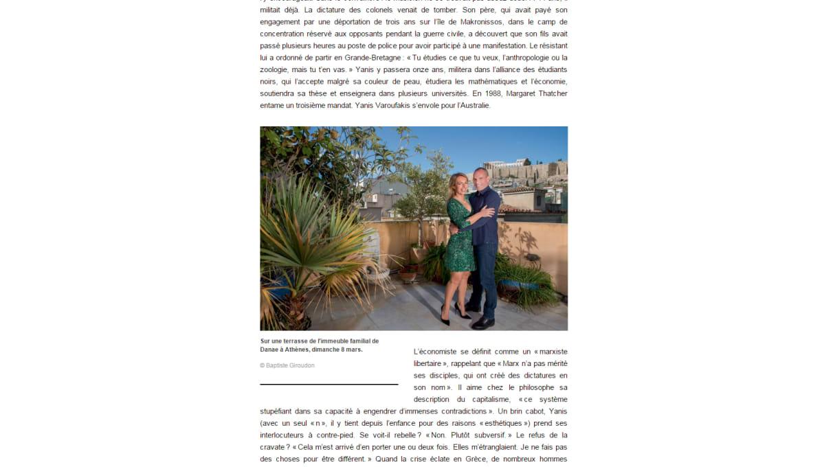 Kuvankaappaus Paris Match -lehden verkkosivuilta, jossa Yanis Varoufakis esittelee Ateenan-kotinsa terassia vaimonsa kanssa.