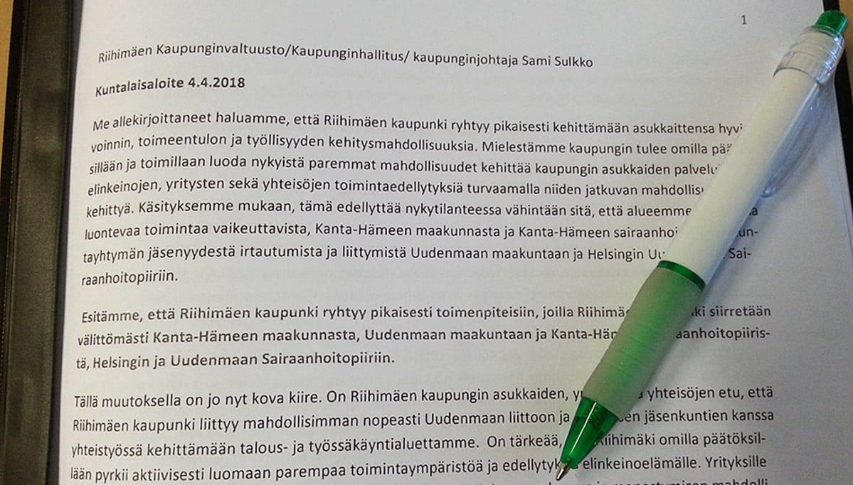 Riihimäellä kuntalaisaloite kerää nimiä maakunnan ja ... b4bce5551a