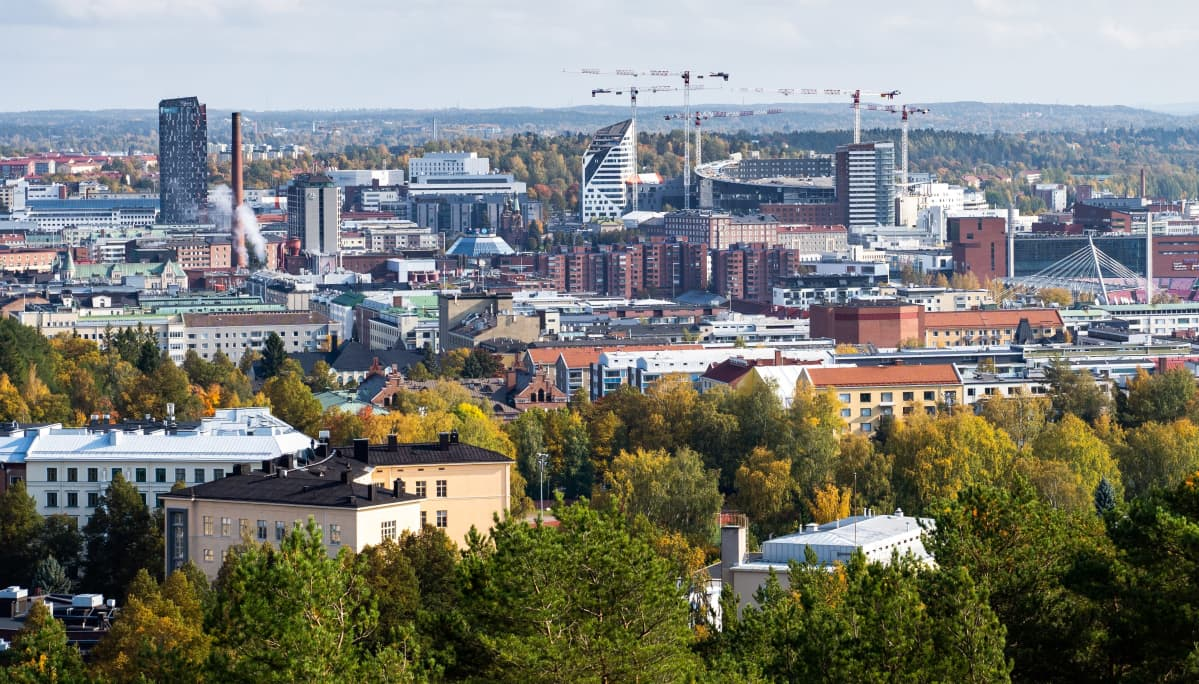 Tampereen keskusta ja Tampereen areenan työmaa
