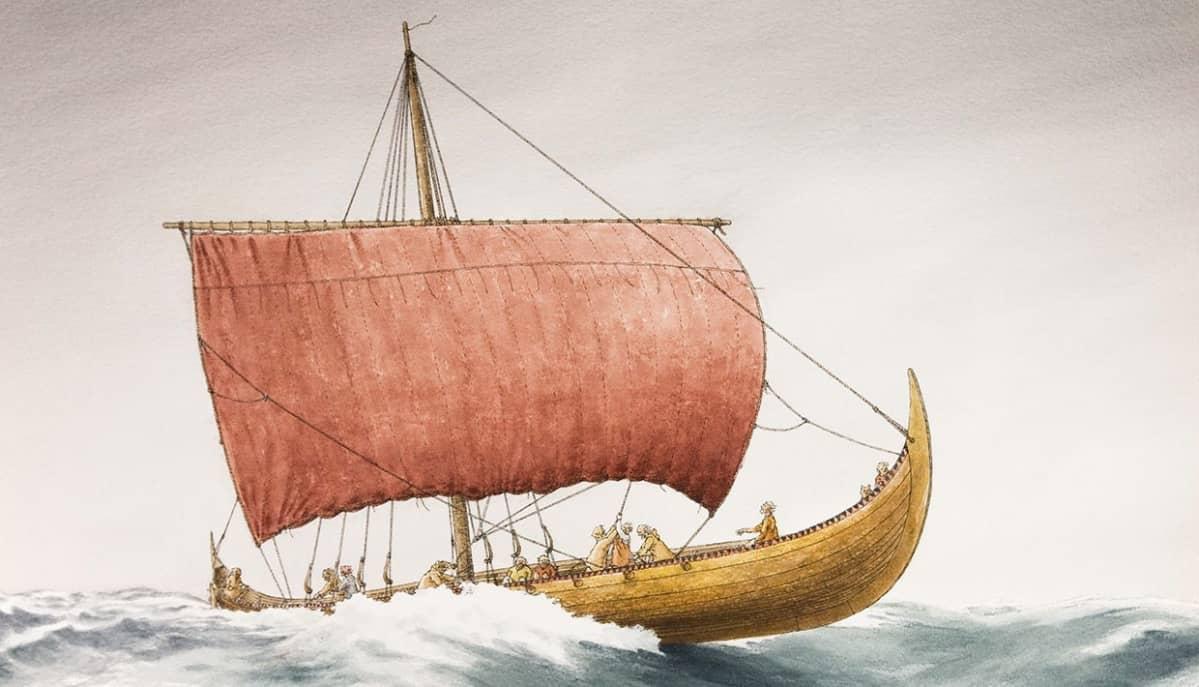 Piirros punapurjeisesta viikinkialuksesta aaltojen keskellä.
