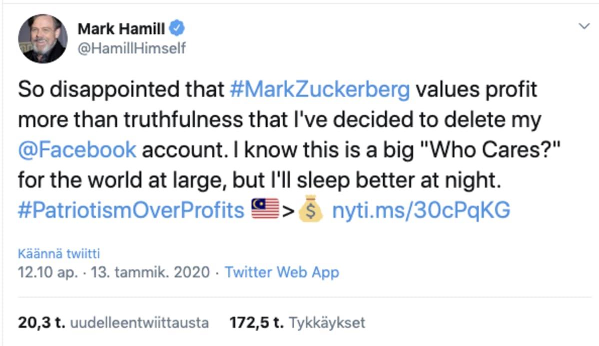 Mark Hamillin päivitys Twitterissä.