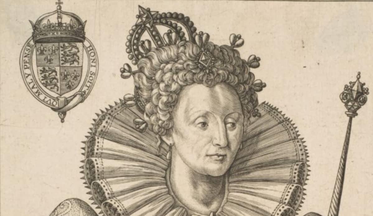 Piirroskuva kungattaresta, jolla on kruunu, valtikka ja leveä myllynkivikaulus.
