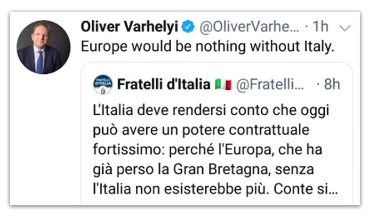 Oliver Varhelyin Twitter-viesti.
