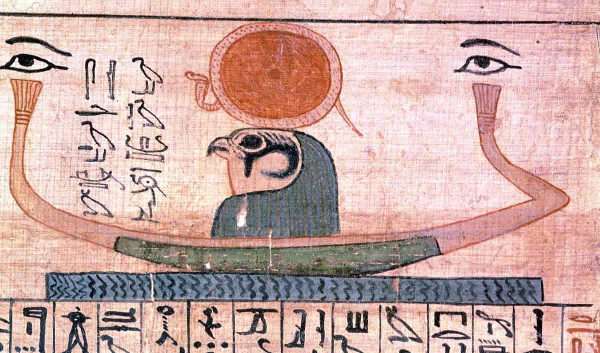 Horus-jumalasta kertova hieroglyfi.