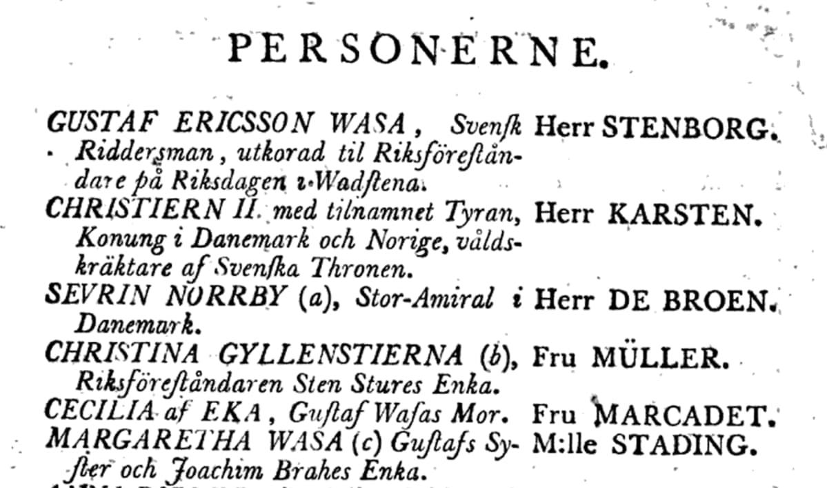 Ote Kustaa Vaasa -oopperan käsikirjoituksesta.