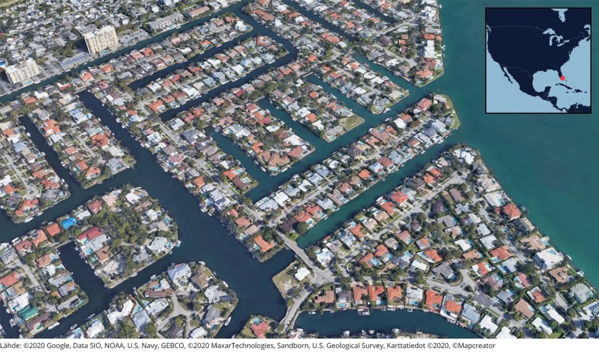 3D-näkymä Miamista.