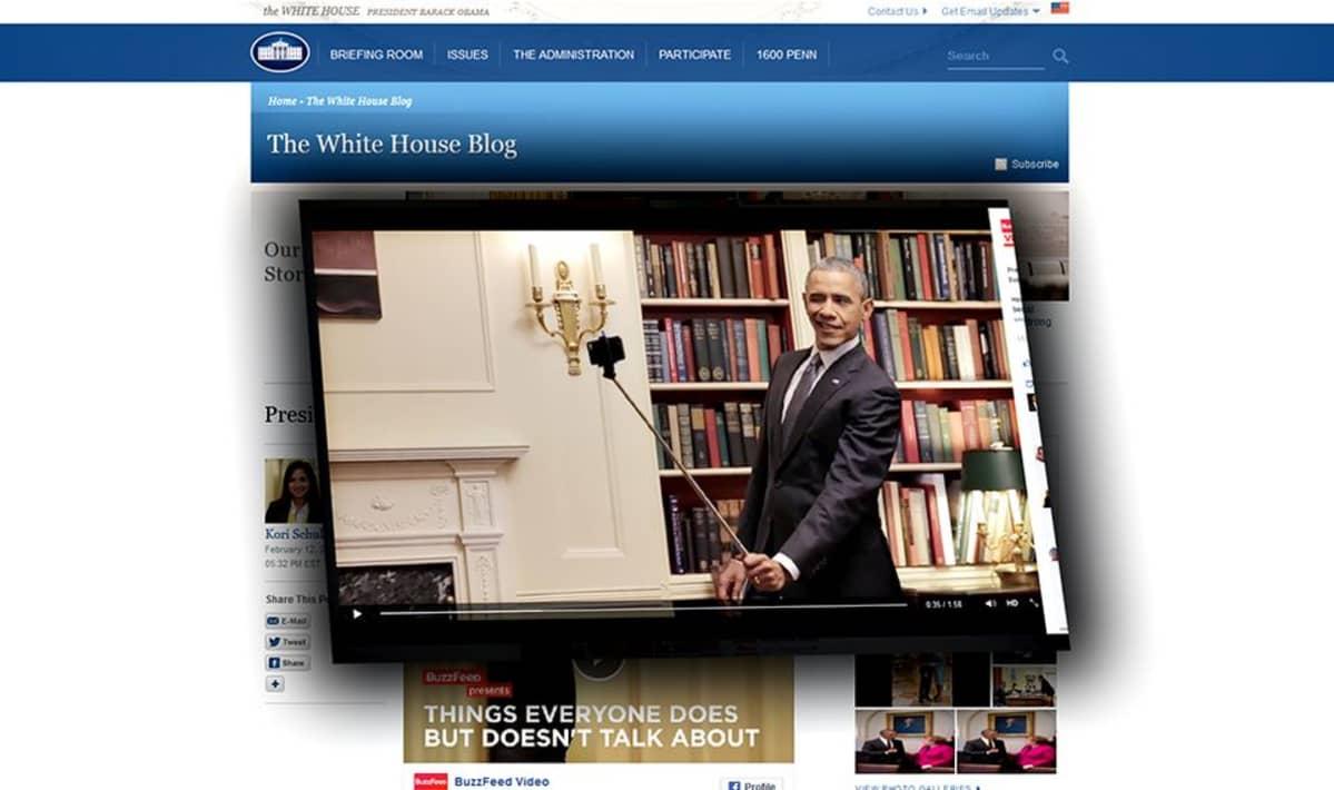 Barack Obama ja selfie keppi.